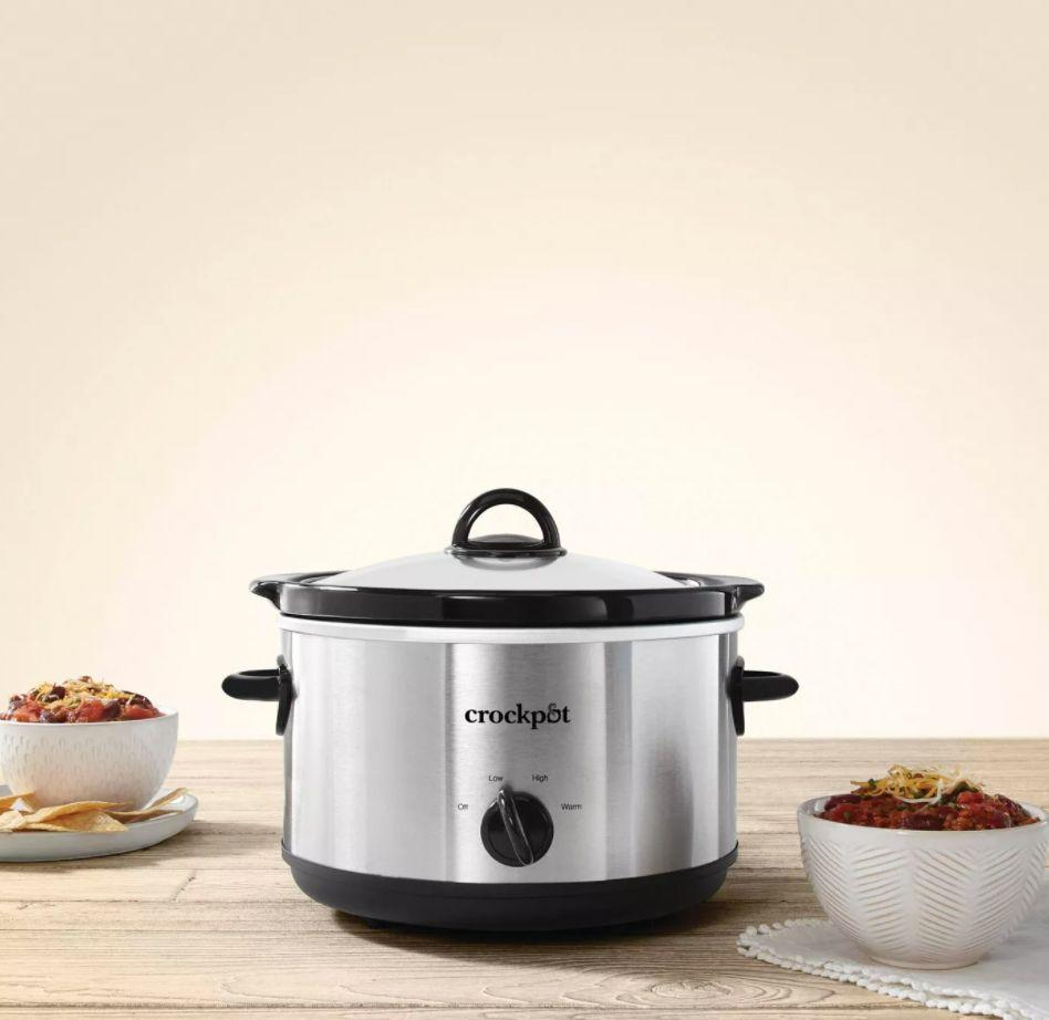 "For soups and chilis, you can turn to this classic Crock-Pot to slow cook your dinner so it's ready for when you clock out of work. It has three settings — low, warm and high — for one-pot meals. This slow cooker comes with a dishwasher-safe round stoneware that can slide off the base, and it doubles as a serving dish. <a href=""https://goto.target.com/c/2055067/81938/2092?u=https%3A%2F%2Fwww.target.com%2Fp%2Fcrock-pot-4-5qt-manual-slow-cooker-silver-scr450-s%2F-%2FA-13796571%23lnk%3Dsametab&subid1=5&subid2=primedaytargetdeals&subid3=primeday20"" target=""_blank"" rel=""noopener noreferrer"">Originally $25, get it now for $17 at Target</a>."