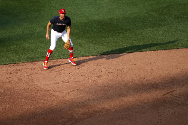 St. Louis Cardinals infielder Brad Miller takes up his position during baseball practice at Busch Stadium Wednesday, July 8, 2020, in St. Louis. (AP Photo/Jeff Roberson)