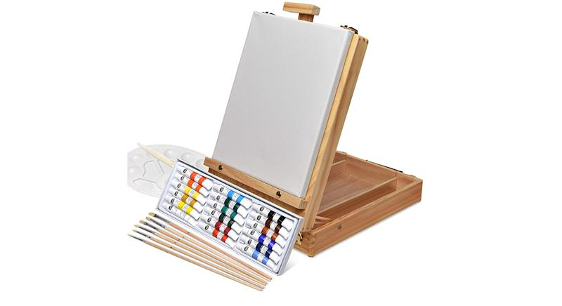 Artina Florenz Box Easel Artists Painting Set with 18 Acrylic Paints