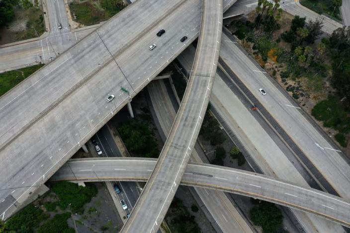 FILE PHOTO: An empty freeway intersection is seen in Pasadena