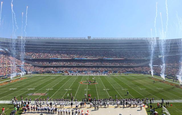 Sep 7, 2014; Chicago, IL, USA; A general shot of Soldier Field during the national anthem prior to the first quarter between the Chicago Bears and the Buffalo Bills. (Dennis Wierzbicki-USA TODAY Sports)