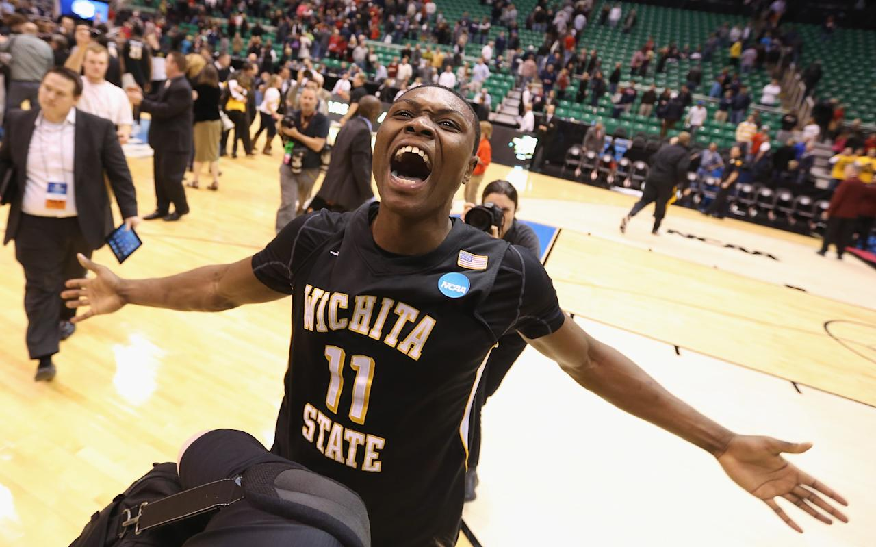 SALT LAKE CITY, UT - MARCH 23:  Cleanthony Early #11 of the Wichita State Shockers celebrates after defeating the Gonzaga Bulldogs 76-70 during the third round of the 2013 Men's NCAA Basketball Tournament at EnergySolutions Arena on March 23, 2013 in Salt Lake City, Utah.  (Photo by Streeter Lecka/Getty Images)