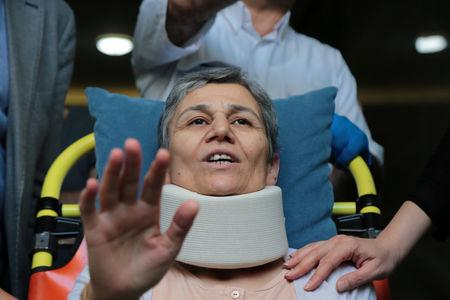 Pro-Kurdish Peoples' Democratic Party (HDP) lawmaker Leyla Guven, who ends her hunger strike after a call from jailed militant leader Abdullah Ocalan, leaves her home to go to hospital in Diyarbakir, Turkey, May 26, 2019. REUTERS/Sertac Kayar