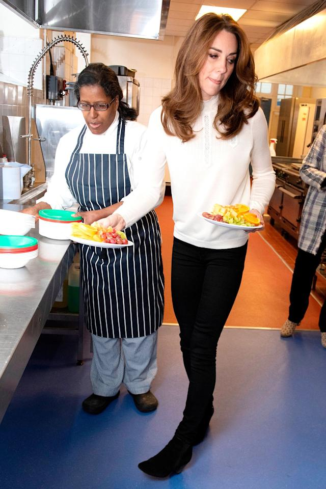 The Duchess of Cambridge chose to arrive in the morning to highlight the importance of a nutritious breakfast for a child's development.