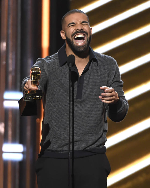 """<p>Drake accepts the award for top Billboard 200 album for """"Views"""" at the Billboard Music Awards at the T-Mobile Arena on Sunday, May 21, 2017, in Las Vegas. (Photo by Chris Pizzello/Invision/AP) </p>"""