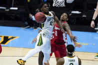 Baylor guard Davion Mitchell (45) shoots over Houston guard Marcus Sasser (0) during the second half of a men's Final Four NCAA college basketball tournament semifinal game, Saturday, April 3, 2021, at Lucas Oil Stadium in Indianapolis. (AP Photo/Darron Cummings)