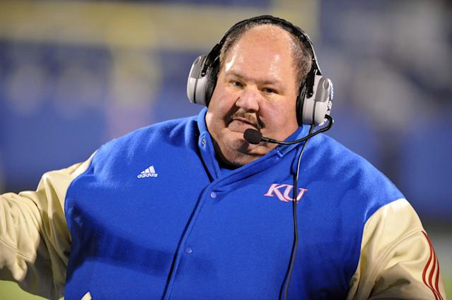 Nov 14, 2009; Lawrence, KS, USA; Kansas Jayhawks head coach Mark Mangino on the sidelines against the Nebraska Cornhuskers in the second half at Memorial Stadium. Nebraska won the game 31-17. Mandatory Credit: John Rieger-US PRESSWIRE
