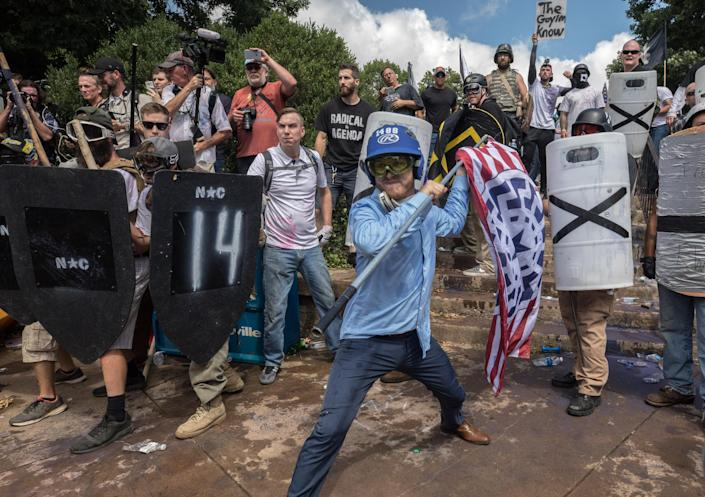 Clashes at the Unite the Right rally in Charlottesville, Va., Aug. 12, 2017. (Photo: Evelyn Hockstein/For The Washington Post via Getty Images)