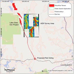 Tempest AEM Survey area over the Rebecca Palaeovalley as mapped by the Kalgoorlie 1:1,000,000 Sheet. Project GDA94, Zone 50.