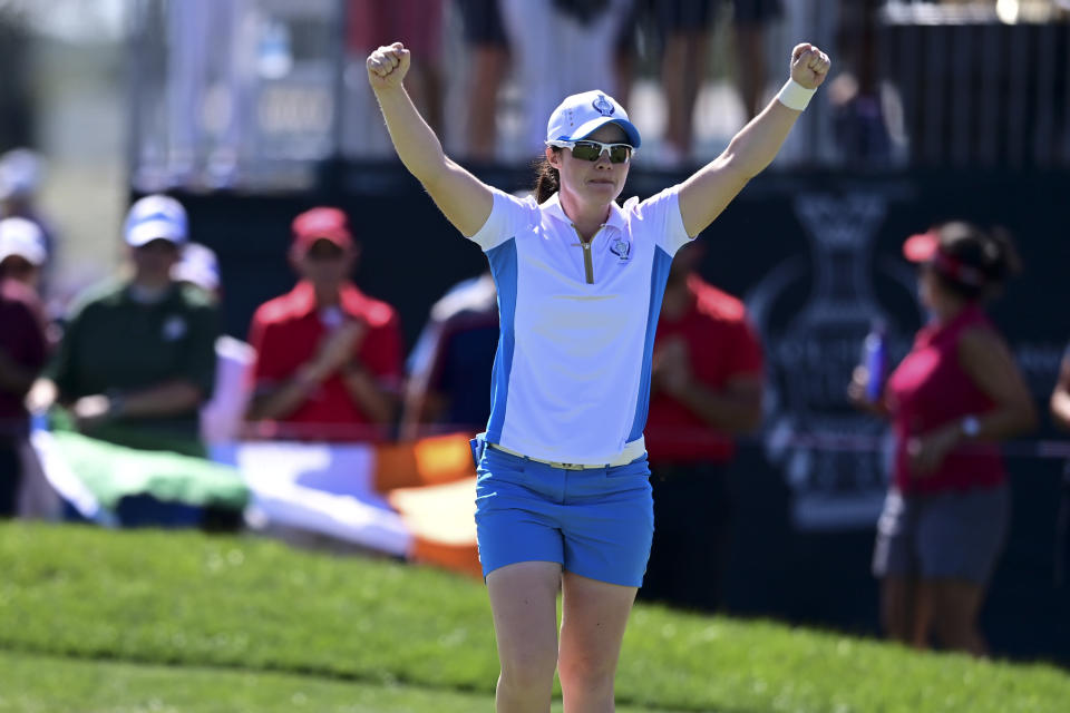 Europe's Leona Maguire celebrates after defeating United States' Jennifer Kupcho on the 15th hole during the singles matches at the Solheim Cup golf tournament, Monday, Sept. 6, 2021, in Toledo, Ohio. (AP Photo/David Dermer)