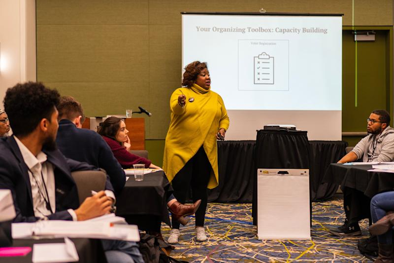 DeJuana Thompson speaks at an Arena Academy training session. (Photo: Lee Pedinoff)