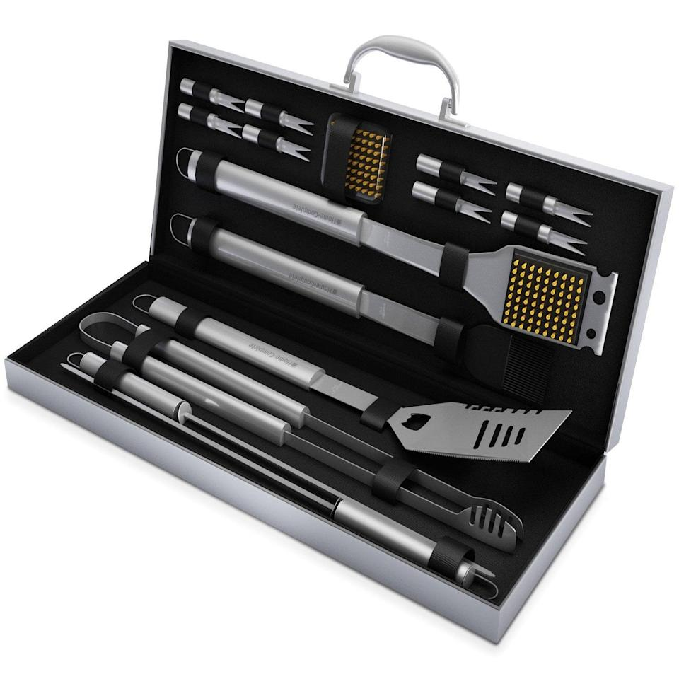 <p>A grill master would appreciate this <span>BBQ Grill Tool Set - 16 Piece Stainless Steel Barbecue Grilling Accessories Kit</span> ($28).</p>