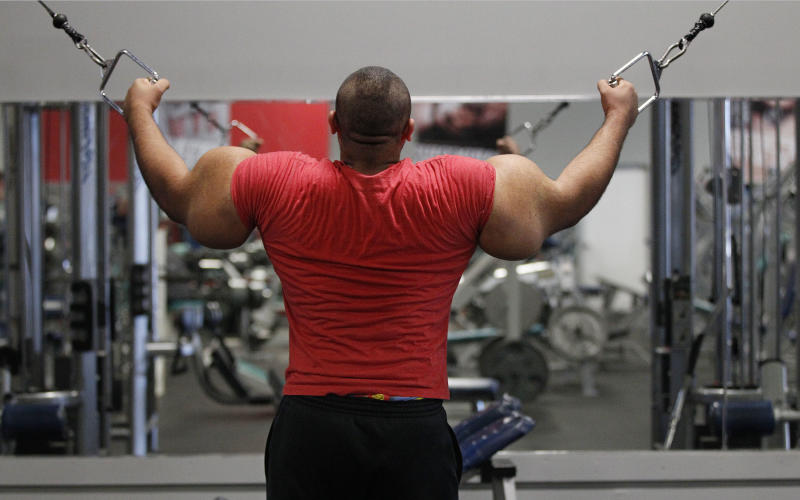 In this photo taken, Friday, Nov. 16, 2012, Egyptian Body builder Moustafa Ismail trains during his daily workout at World Gym in Milford, Mass. Ismail has been given the title of world's biggest arms, biceps and triceps, by the Guinness Book of World Records. (AP Photo/Stephan Savoia)