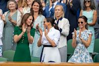 "<p>The following summer, Kate, Meghan, and Pippa all <a href=""https://www.townandcountrymag.com/society/tradition/g28379402/kate-middleton-meghan-markle-wimbledon-2019-photos/"" rel=""nofollow noopener"" target=""_blank"" data-ylk=""slk:stepped out at Wimbledon"" class=""link rapid-noclick-resp"">stepped out at Wimbledon</a> to watch Serena Williams' match. The Duchesses spent the day chatting with each other and fellow royals and cheering on the players.</p>"