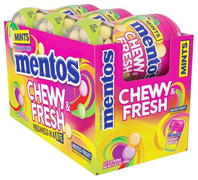 <p>With <span>Mentos Chewy and Fresh Fruit</span> ($22 for a six-pack), you don't need to pick just one flavor - green apple, lemon, cherry grape, and strawberry are yours for the choosing.</p>