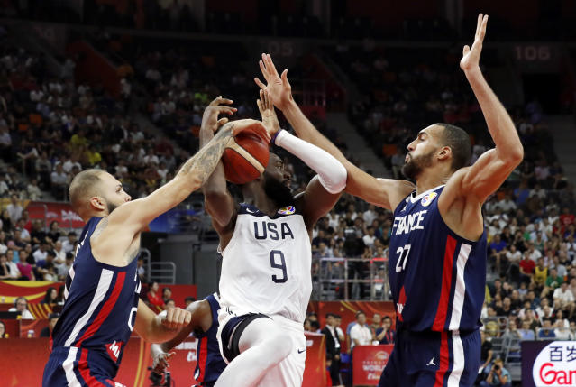 "<a class=""link rapid-noclick-resp"" href=""/nba/players/5197/"" data-ylk=""slk:Rudy Gobert"">Rudy Gobert</a> and the French national team swallowed up Team USA. (Reuters)"