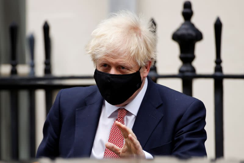 Britain's Prime Minister Boris Johnson leaves Downing Street in London