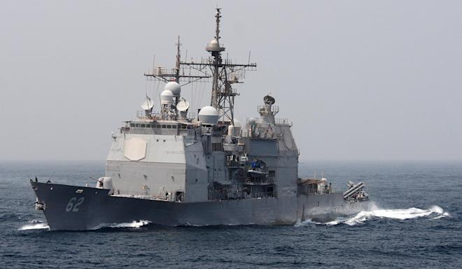 The guided-missile cruiser USS Chancellorsville sailed through the Taiwan Strait last month, the US Navy says. Photo: AFP
