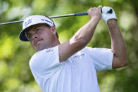 Keith Mitchell watches his tee shot on the seventh hole during the first round of the Wells Fargo Championship golf tournament at Quail Hollow on Thursday, May 6, 2021, in Charlotte, N.C. (AP Photo/Jacob Kupferman)