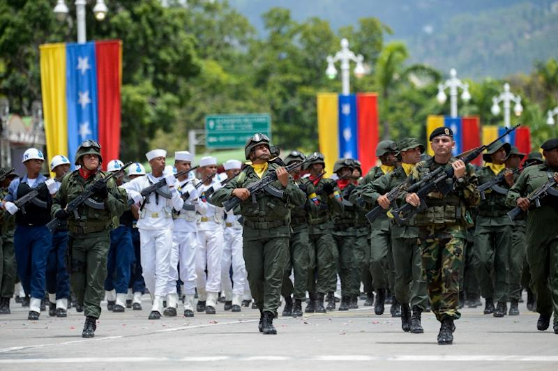 Members of Venezuela's armed forces on the July 5, 2017 Independence Day parade