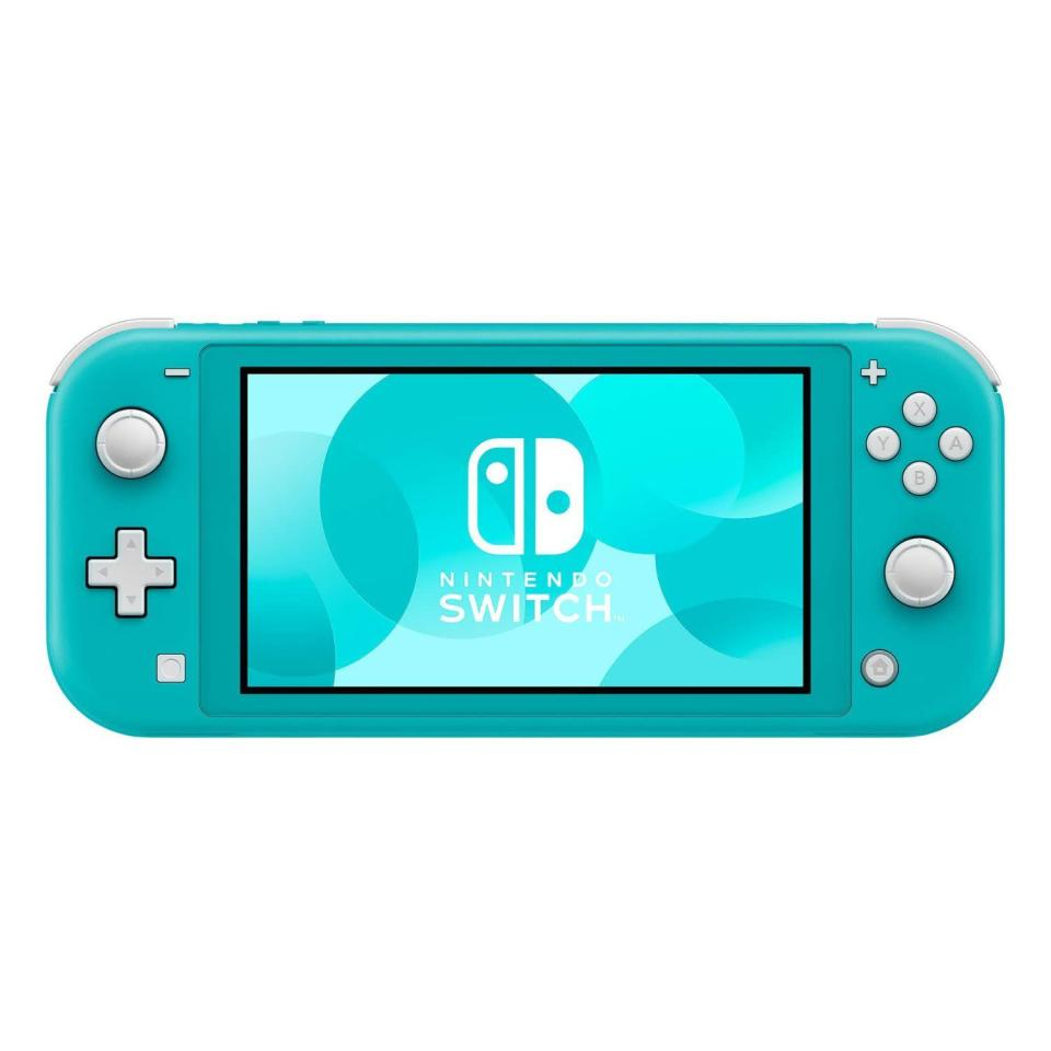 """<p><strong>Nintendo</strong></p><p>amazon.com</p><p><strong>$244.75</strong></p><p><a href=""""https://www.amazon.com/dp/B07V4GCFP9?tag=syn-yahoo-20&ascsubtag=%5Bartid%7C2089.g.864%5Bsrc%7Cyahoo-us"""" rel=""""nofollow noopener"""" target=""""_blank"""" data-ylk=""""slk:Shop Now"""" class=""""link rapid-noclick-resp"""">Shop Now</a></p><p>The Switch Lite, as its name suggests, is a more reasonably priced variant of <a href=""""https://www.bestproducts.com/tech/electronics/a26680221/nintendo-switch-review/"""" rel=""""nofollow noopener"""" target=""""_blank"""" data-ylk=""""slk:Nintendo's popular gaming console"""" class=""""link rapid-noclick-resp"""">Nintendo's popular gaming console</a>. The gadget is designed solely for handheld gaming. It has a lightweight design and a more compact 5.5-inch display than the regular Switch. </p><p>You can order the Lite in several eye-catching colors — yellow, turquoise, and gray. It's important to note that the Switch Lite is compatible only with games that support handheld mode. </p>"""