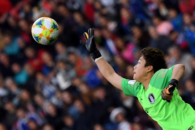 South Korea's goalkeeper Min-Jeong Kim makes a save during the France 2019 Women's World Cup Group A football match between France and South Korea, on June 7, 2019, at the Parc des Princes stadium, in Paris. (Photo by Francois Xavier Marit/AFP/Getty Images)