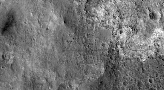 Mars Rover Curiosity's Tracks Seen From Space