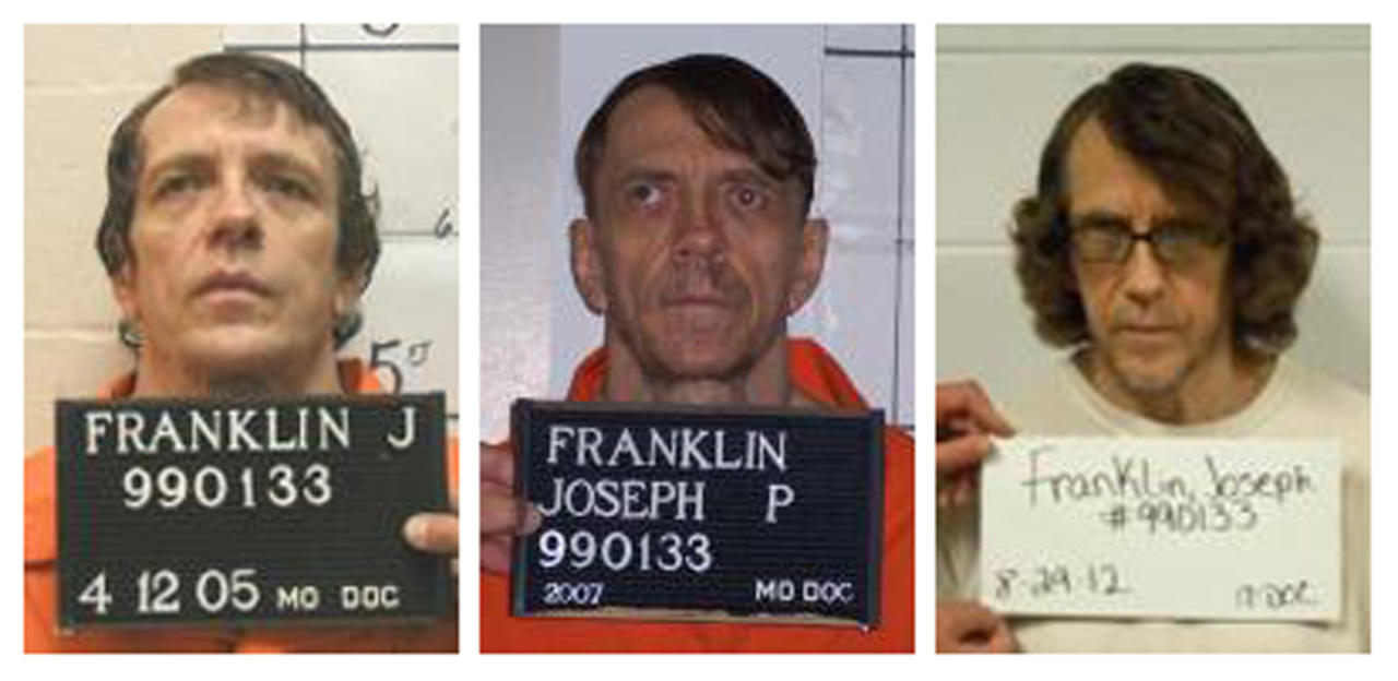 A combination photo shows Joseph Paul Franklin, who has been convicted of killing eight people from the late 1970s to 1980 in racially motivated attacks, in booking photos provided by the Missouri Department of Corrections taken in (L-R) 2005, 2007 and 2012. Franklin, an avowed white supremacist, is due to be executed on November 20, 2013. Larry Flynt, the publisher of the porn magazine Hustler who was shot and paralyzed in 1978, has gone to court to object to the pending execution of Franklin, who fired the bullet that put him in a wheelchair. REUTERS/Missouri Department of Corrections/Handout via Reuters (UNITED STATES - Tags: CRIME LAW HEADSHOT TPX IMAGES OF THE DAY) ATTENTION EDITORS - THIS IMAGE WAS PROVIDED BY A THIRD PARTY. FOR EDITORIAL USE ONLY. NOT FOR SALE FOR MARKETING OR ADVERTISING CAMPAIGNS. THIS PICTURE IS DISTRIBUTED EXACTLY AS RECEIVED BY REUTERS, AS A SERVICE TO CLIENTS