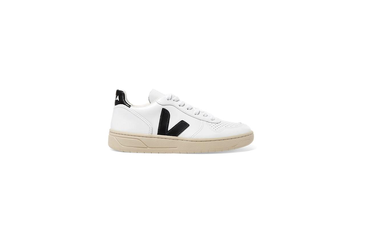 """<p>Not only do these laid-back shoes <em>look</em> good, but they do good too. <a href=""""https://www.realsimple.com/beauty-fashion/shoes-accessories/shoes/meghan-markle-white-sneakers-invictus-games?utm_content=link&utm_campaign=realsimple_realsimple&utm_term=00C04352-D625-11E8-9D37-C6AB0F4A2151&utm_medium=social&utm_source=facebook.com"""" target=""""_blank"""">The low-top sneakers</a> (sported by the duchess during an Invictus Games sailing event) are made from sustainable leather, and they pair with everything from dresses to jeans.</p> <p><strong>To buy:</strong> $150; <a href=""""https://click.linksynergy.com/deeplink?id=93xLBvPhAeE&mid=1237&murl=https%3A%2F%2Fshop.nordstrom.com%2Fs%2Fveja-v-10-sneaker-women%2F5081553&u1=RS%2CTheUltimateGuidetoMeghanMarkle%2527sShoeCollection%2Crsylvester805%2CSHO%2CIMA%2C633506%2C201907%2CI"""" target=""""_blank"""">nordstrom.com</a>.</p>"""