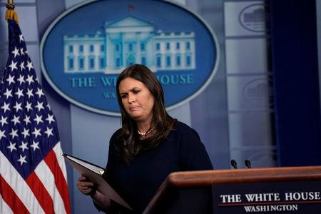 U.S. White House Press Secretary Sarah Huckabee Sanders holds the daily briefing at the White House in Washington