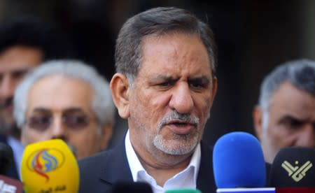 Iranian Vice President Jahangiri speaks during a news conference after a meeting with Iraq's top Shi'ite cleric in Najaf