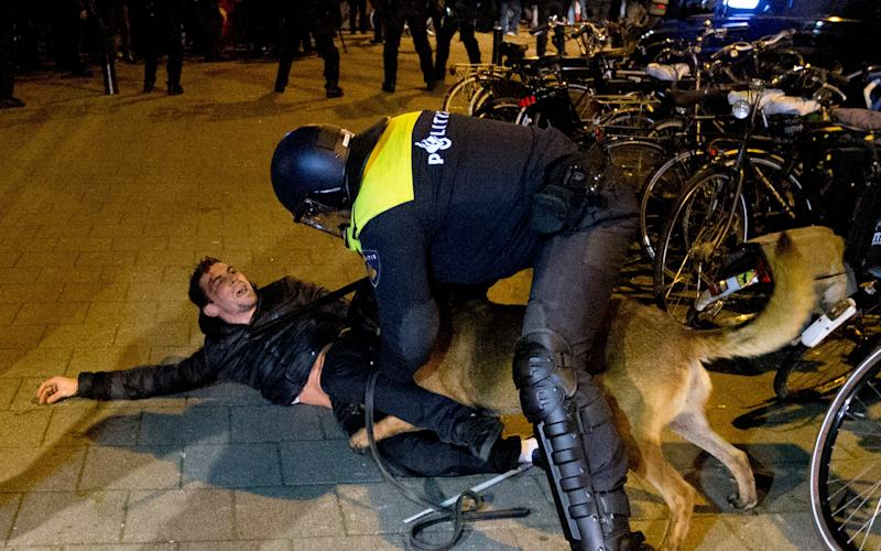 A Dutch riot policeman tries to get his dog to let go of a man after riots broke out during a pro Erdogan demonstration at the Turkish consulate in Rotterdam early on Saturday - Credit: AP