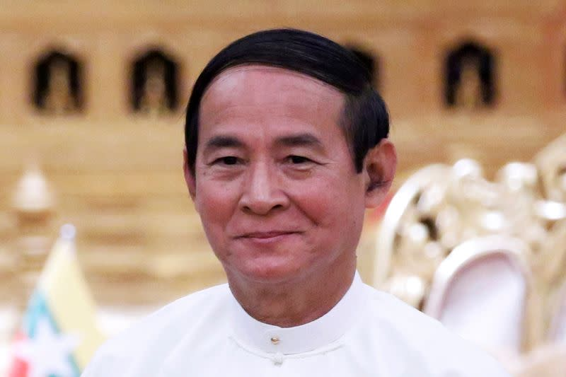 Myanmar President Win Myint is pictured at the Presidential Palace in Naypyitaw