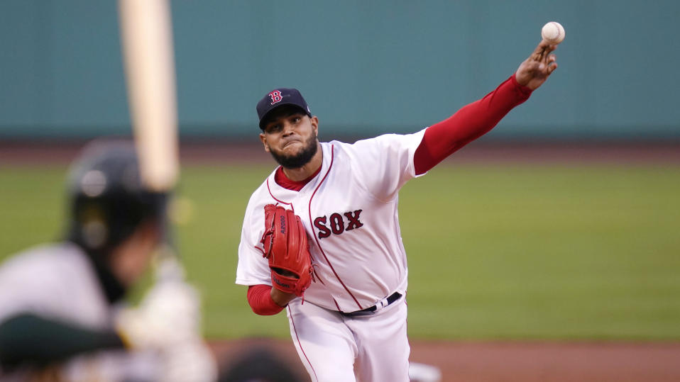 Boston Red Sox starting pitcher Eduardo Rodriguez delivers during the first inning of a baseball game against the Oakland Athletics, Wednesday, May 12, 2021, in Boston. (AP Photo/Charles Krupa)
