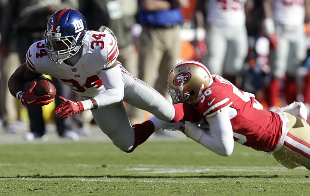 <p>New York Giants running back Shane Vereen (34) is tackled by San Francisco 49ers linebacker Reuben Foster (56) during the first half of an NFL football game in Santa Clara, Calif., Sunday, Nov. 12, 2017. (AP Photo/Marcio Jose Sanchez) </p>