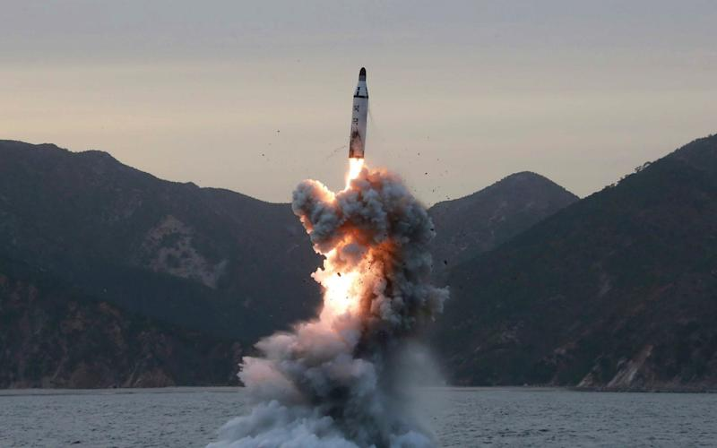 An undated photo released on 24 April 2016 by North Korean Central News Agency (KCNA) shows an 'underwater test-fire of strategic submarine ballistic missile' conducted at an undisclosed location in North Korea (reissued 05 April 2017).  - Credit:  KCNA/EPA/ KCNA