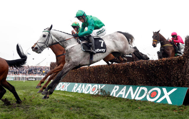 Horse Racing - Grand National Festival - Aintree Racecourse, Liverpool, Britain - April 13, 2018 Terrefort ridden by Daryl Jacob in action before winning the 14:50 Betway Mildmay Novices' Chase Action Images via Reuters/Matthew Childs