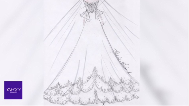 Madeline Gardner's sketch of what she thinks Meghan Markle will wear on the big day.