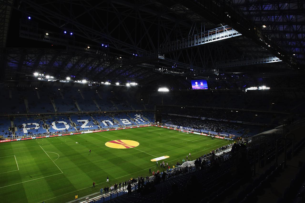 POZNAN, POLAND - NOVEMBER 04:  A general view of the Bulgarska Street Stadium prior to the UEFA Europa League Group A match between KKS Lech Poznan and Manchester City at the Bulgarska Street Stadium on November 4, 2010 in Poznan, Poland.  (Photo by Bryn Lennon/Getty Images)