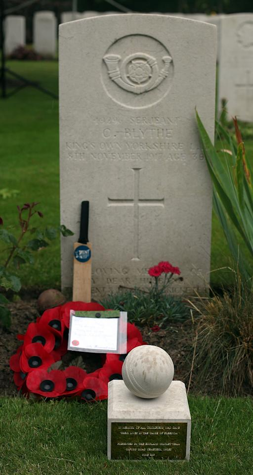 YPRES, BELGIUM - JUNE 27:  The grave of former Kent and England player Colin Blythe, who died during The First World War, and is now buried at The Oxford Road Cemetrynear Ypres on June 26, 2009 in Ypres, Belgium. The 16 strong Ashes squad paid a visit to Flanders Field in Belgium prior to taking on Australia in the forthcoming series.  (Photo by Julian Herbert/Getty Images)