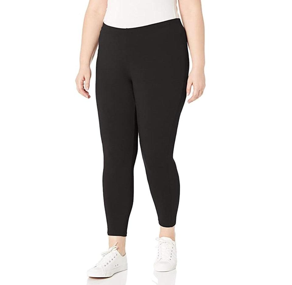 """<p><strong>Reviews & rating:</strong> 10,346 reviews, 4.3 out of 5 stars.</p> <p><strong>Key selling points:</strong> These 90% cotton, 10% spandex leggings are a comfortable yet form-fitting choice. Reviewers love the soft, breathable material, and they feature a no-slip elastic waistband that's perfect for working out, but with enough give for everyday wear.</p> <p><strong>What customers say:</strong> """"These hug every curve, yet they are breathable, and they stay put when I walk or exercise. I don't have to keep pulling them up all day, or unrolling the waist. They are not see-through, and they can be worn all seasons as far as I'm concerned. I can finally work out on the treadmill without having to adjust my leggings. I'm going to order another pair!"""" —<a href=""""https://amzn.to/2PYw7Ex"""" rel=""""nofollow noopener"""" target=""""_blank"""" data-ylk=""""slk:Amazon Customer"""" class=""""link rapid-noclick-resp""""><em>Amazon Customer</em></a><em>, reviewer on Amazon</em></p> $10, Amazon. <a href=""""https://www.amazon.com/Just-My-Size-Plus-Size-Stretch/dp/B01B3IV11O/ref="""" rel=""""nofollow noopener"""" target=""""_blank"""" data-ylk=""""slk:Get it now!"""" class=""""link rapid-noclick-resp"""">Get it now!</a>"""
