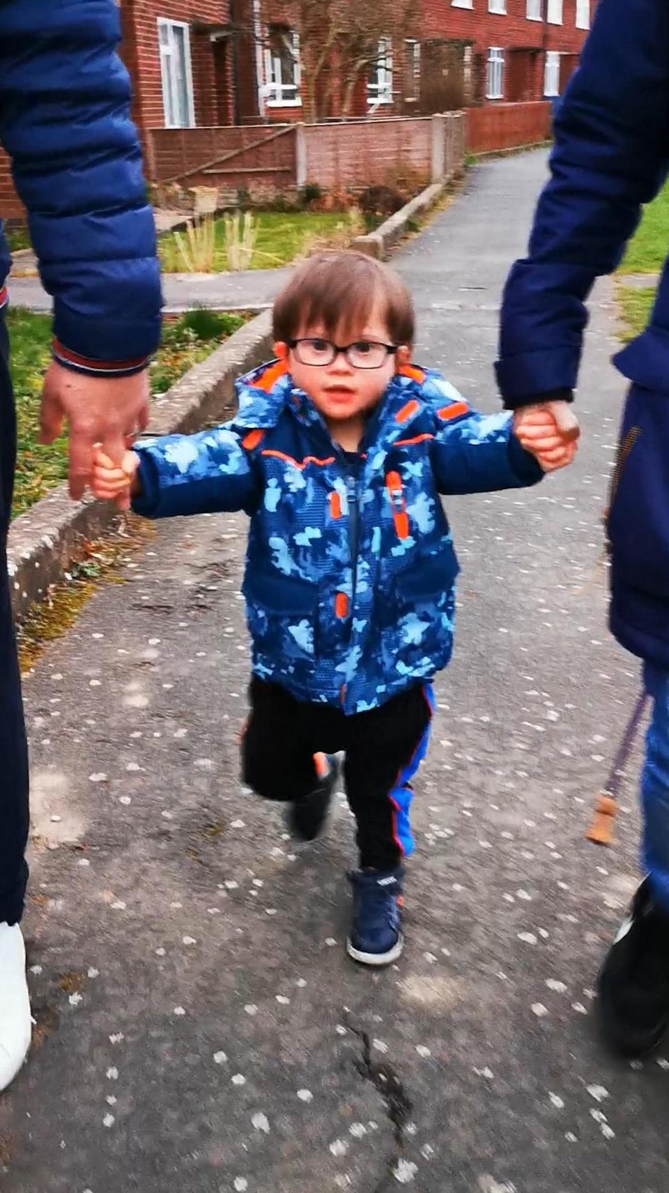 Tom Albrighton, 2, who is taking on a walking challenge ahead of World Down Syndrome Day