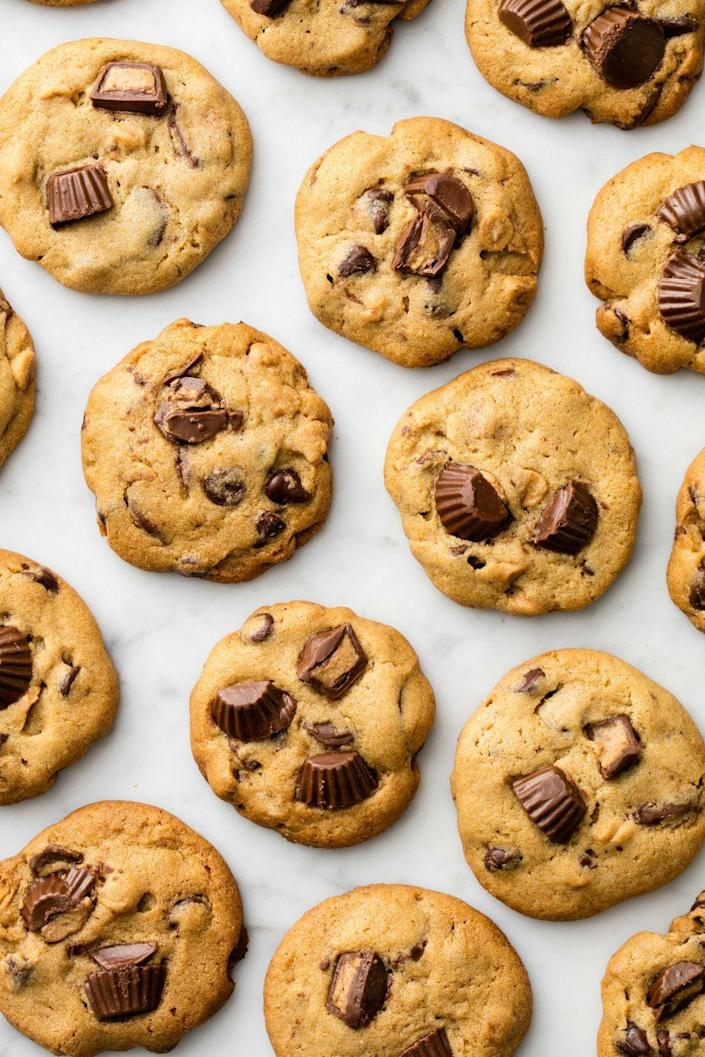 """<p>Peanut butter cookies are living their best life.</p><p>Get the recipe from <a href=""""https://www.delish.com/cooking/recipe-ideas/recipes/a50449/reeses-chip-cookies-recipe/"""" rel=""""nofollow noopener"""" target=""""_blank"""" data-ylk=""""slk:Delish"""" class=""""link rapid-noclick-resp"""">Delish</a>. </p>"""