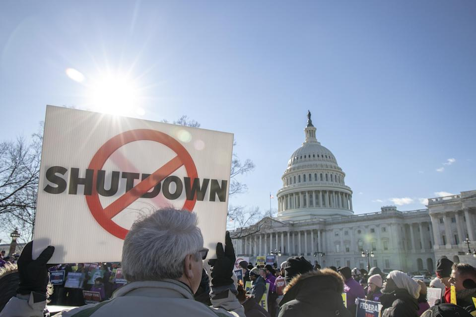 Government shutdown protests include this rally against a partial government shutdown at a protest hosted by the National Air Traffic Controllers Association (NATCA) on Capitol Hill in Washington, D.C., U.S., on Thursday, Jan. 10, 2019. (Photo: Alex Wroblewski/Bloomberg via Getty Images)