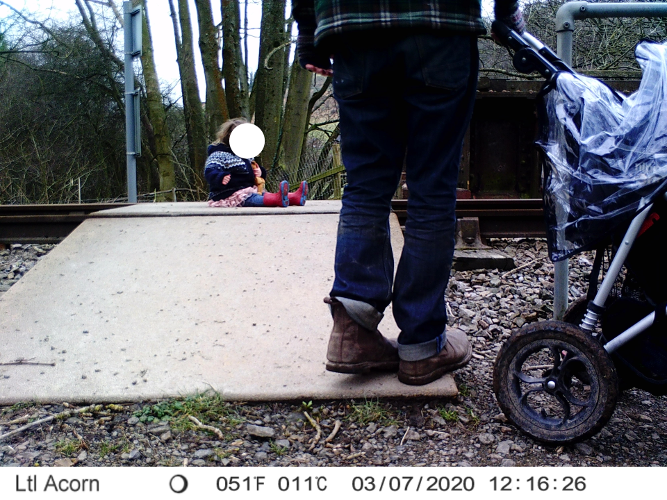CCTV shows a toddler sitting on a level-crossing. (Network Rail)