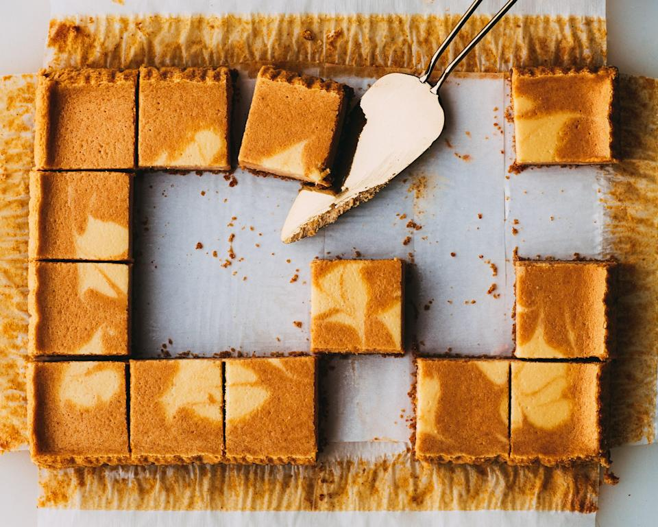 """Okay, some pumpkin purée recipes aren't that far off from pie. Like these creamy cheesecake bars, which you could absolutely serve at <a href=""""https://www.epicurious.com/collection/thanksgiving-recipes-menus-strategies-tips?mbid=synd_yahoo_rss"""" rel=""""nofollow noopener"""" target=""""_blank"""" data-ylk=""""slk:Thanksgiving"""" class=""""link rapid-noclick-resp"""">Thanksgiving</a>. Reserve a small amount of maple-sweetened cheesecake batter before whisking in the pumpkin purée, ground ginger, and <a href=""""https://www.epicurious.com/recipes/food/views/pumpkin-pie-spice-mix?mbid=synd_yahoo_rss"""" rel=""""nofollow noopener"""" target=""""_blank"""" data-ylk=""""slk:pumpkin pie spice"""" class=""""link rapid-noclick-resp"""">pumpkin pie spice</a>; then swirl the two together over a graham crust before baking. <a href=""""https://www.epicurious.com/recipes/food/views/marbled-pumpkin-maple-cheesecake-bars?mbid=synd_yahoo_rss"""" rel=""""nofollow noopener"""" target=""""_blank"""" data-ylk=""""slk:See recipe."""" class=""""link rapid-noclick-resp"""">See recipe.</a>"""