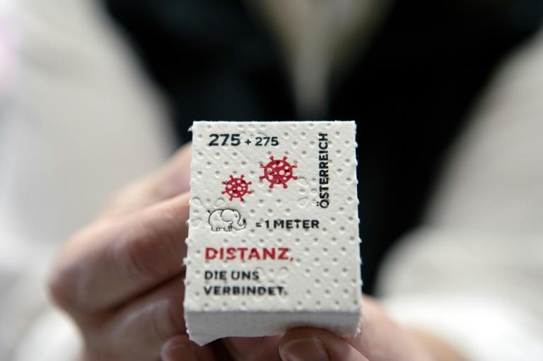 The stamps, made from recycled paper, were originally meant to be issued earlier in the pandemic but a lack of absorbent paper put the project on hold