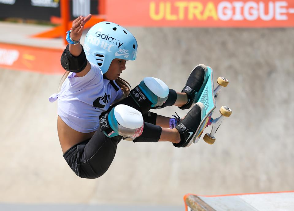 SAO PAULO, BRAZIL - SEPTEMBER 14: Sky Brown of Great Brittan in action during the Semi-finals  during the World Skate Park Skateboarding World Championship at Parque Candido Portinari on September 14, 2019 in Sao Paulo, Brazil. (Photo by Alexandre Schneider/Getty Images)