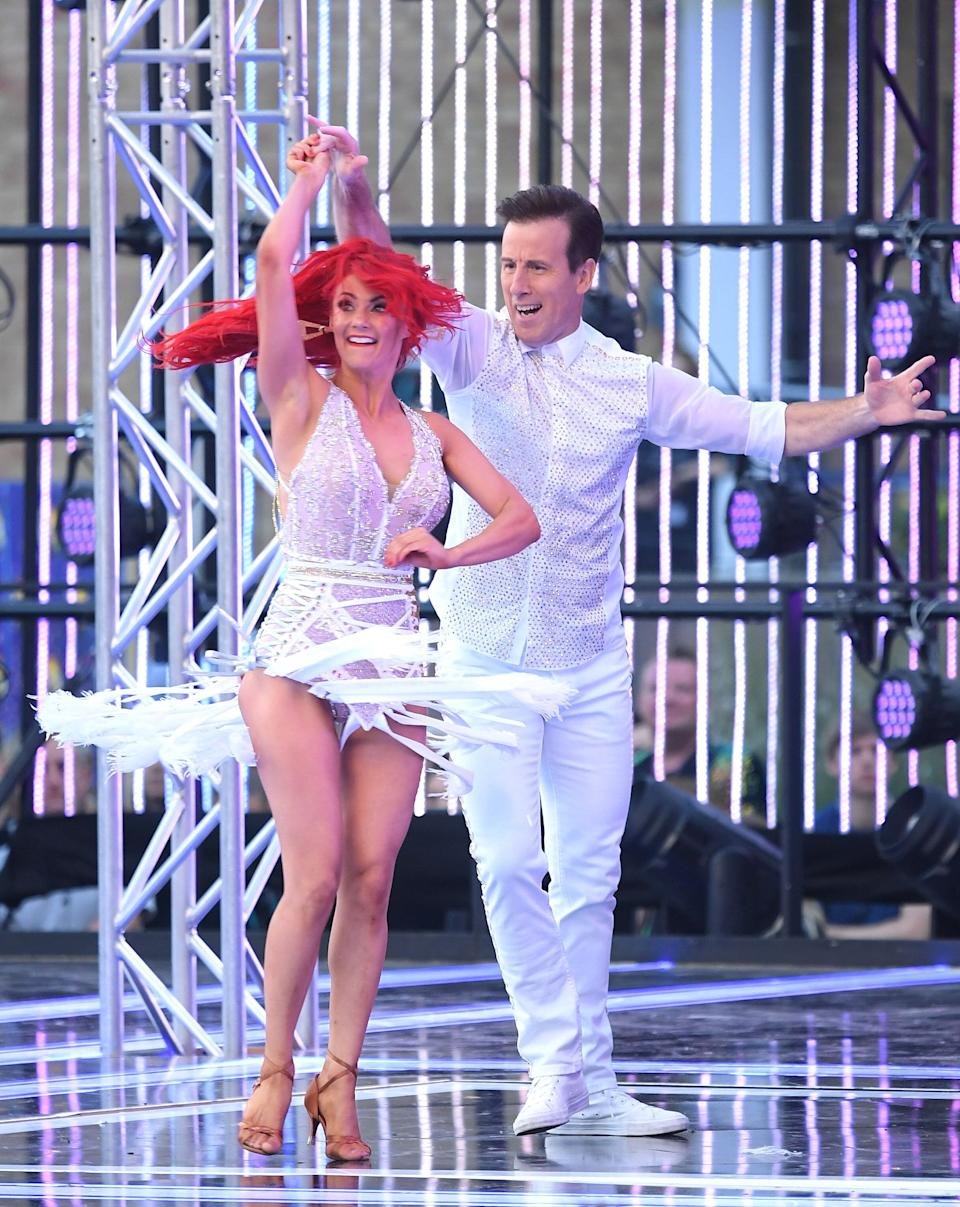 """LONDON, ENGLAND - AUGUST 26: Dianne Buswell and Anton du Beke attend the """"Strictly Come Dancing"""" launch show red carpet arrivals at Television Centre on August 26, 2019 in London, England. (Photo by Karwai Tang/WireImage)"""