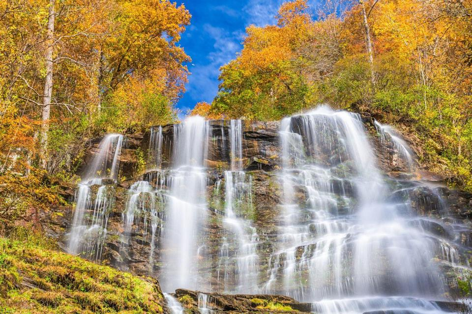 """<p>The north Georgia mountains might be a surprising destination for leaf-peeping, but it is one, nonetheless. Last year, the state parks hosted a <a href=""""https://gastateparks.org/LeafWatch"""" rel=""""nofollow noopener"""" target=""""_blank"""" data-ylk=""""slk:Leaf Watch"""" class=""""link rapid-noclick-resp"""">Leaf Watch</a>, in which tourists and locals participated by sharing photos of the foliage progress. It flourished into late November. If you're looking for a fun, different way to join this year, try the Amicalola Lodge and State Park's four-hour <a href=""""https://www.amicalolafallslodge.com/adventures/gps-scavenger-hunt/"""" rel=""""nofollow noopener"""" target=""""_blank"""" data-ylk=""""slk:GPS scavenger hunt"""" class=""""link rapid-noclick-resp"""">GPS scavenger hunt</a> and adventure through the mountains.</p>"""